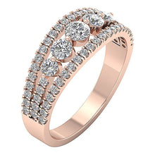 Load image into Gallery viewer, Split Shank 14k Rose Gold Designer Five Stone Anniversary Ring Natural Diamond I1 G 1.35 ct