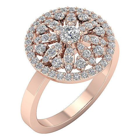 14k White Yellow Rose Gold Prong Set Natural Diamond SI1 G 1.15 Ct Right Hand Wedding Ring 16.20MM