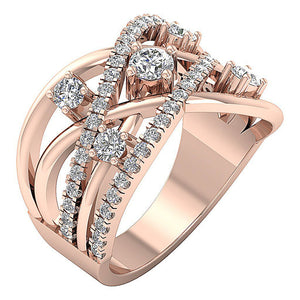 Prong Set Rose Gold Anniversary Right Hand Ring-DRHR5-1