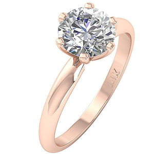 Rose Gold Solitaire Anniversary Ring Side View-DSR-1.80-4