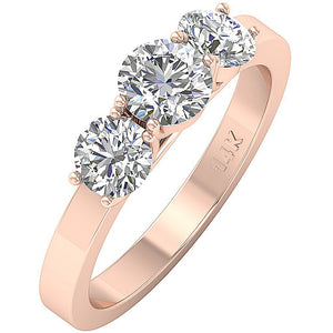 Rose Gold Anniversary Wedding Ring Side View-DTR101-TR-105-4