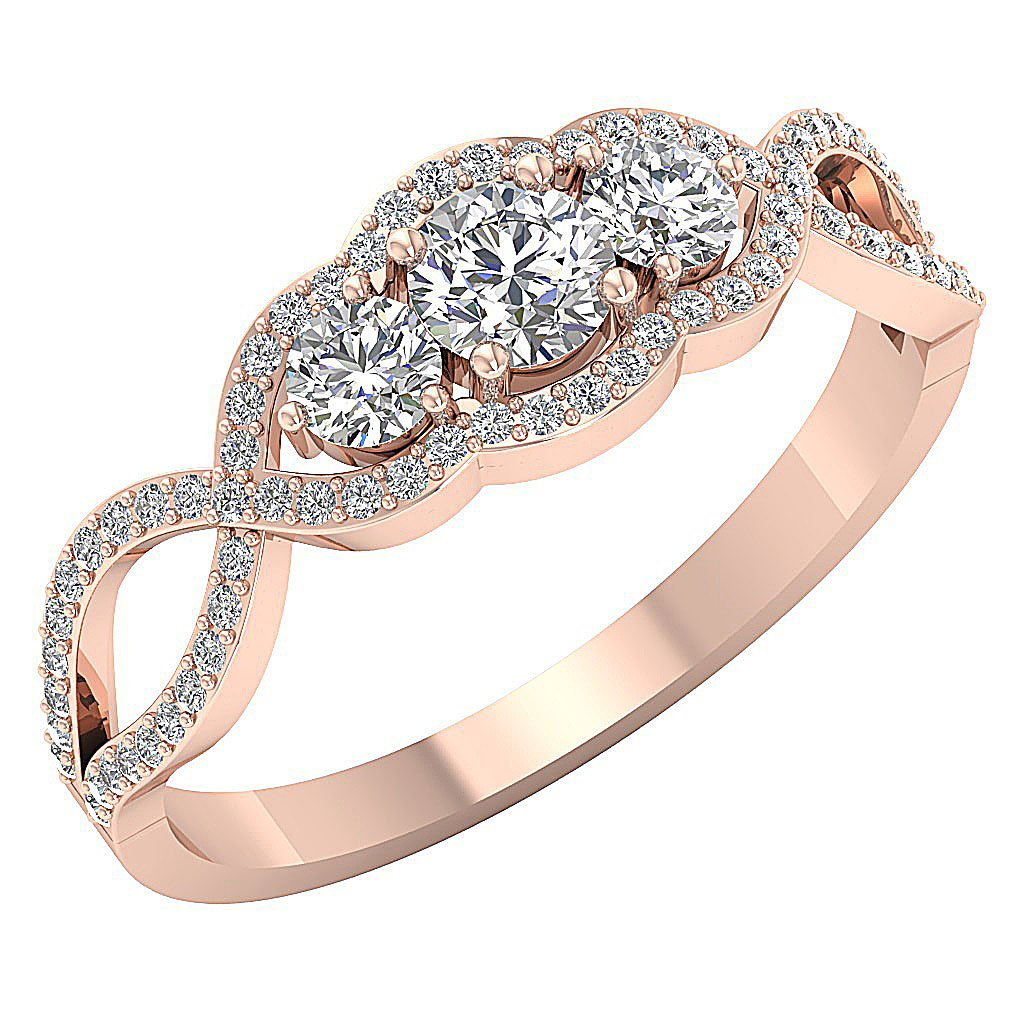 Designer Three Stone Wedding Ring Natural Round Diamond I1 G 0.90 Ct Prong Set Width 7.00MM