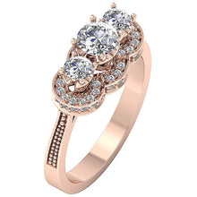 Load image into Gallery viewer, 14k Gold Three Stone Engagement Ring Side View-DTR156-3