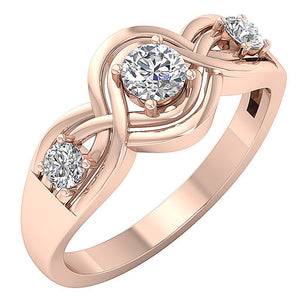 Rose Gold Vintage Anniversary Prong Set Ring-DTR159-TR-165-1