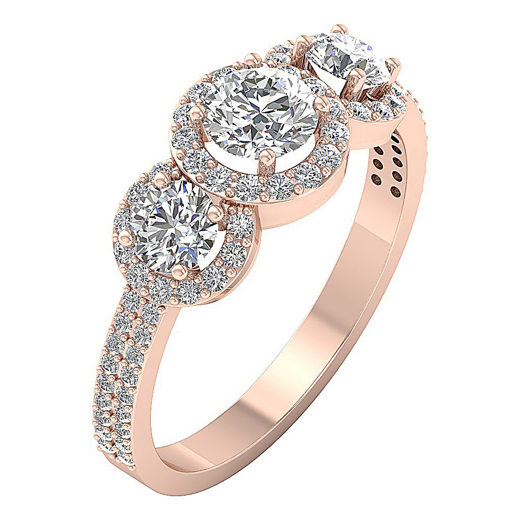 Designer Three Stone Wedding Ring Natural Round Diamond I1 G 1.60 Carat Prong Set Width 8.20MM