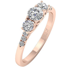 Load image into Gallery viewer, Designer Three Stone Wedding Ring SI1 G 1.00 Ct Natural Diamond Prong Set 14k Rose Gold 5.50MM