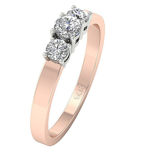 Rose Gold Vintage Anniversary 3 Stone Ring-DTR56-TR-12-4
