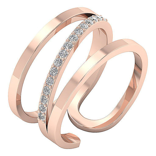 Right Hand Designer Unique Ring Natural Diamond SI1 G 0.25 Ct 14k Rose Gold Prong Set 12.00MM