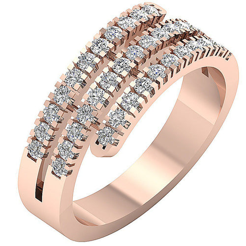 Right Hand Designer Wedding Ring VVS1 E 1.01Ct Natural Round Diamond 14k Rose Gold Prong Set 7.80MM