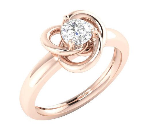 Solitaire Engagement Rose Gold Ring-SR-989