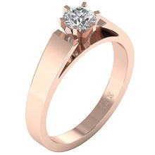 Load image into Gallery viewer, Solitaire Round Diamond Designer Wedding Ring I1 G 0.80 Ct 14K Yellow Gold Six Prong Set 6.70MM
