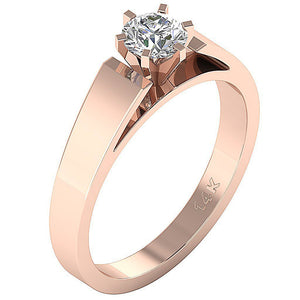 Solitaire Anniversary Rose Gold Ring Side View-SR 766-0.80-3