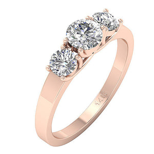 Prong Set Three Stone Wedding Ring 14k Gold-TR-102A-4