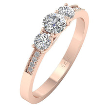 Load image into Gallery viewer, 3 Stone Engagement Ring 14k Rose Gold Side View-TR-103-4