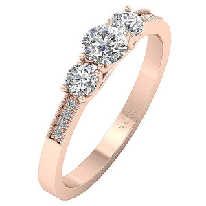 3 Stone Engagement Ring 14k Rose Gold Side View-TR-103-4