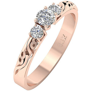 Rose Gold Three Stone Wedding Ring Prong Set-TR-125-4