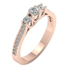 Load image into Gallery viewer, 3 Stone Anniversary Ring Rose Gold-TR-90-4