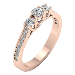 3 Stone Anniversary Ring Rose Gold-TR-90-4