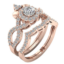 Load image into Gallery viewer, Side View 14k Rose Gold Vintage Bridal Ring-CR-200