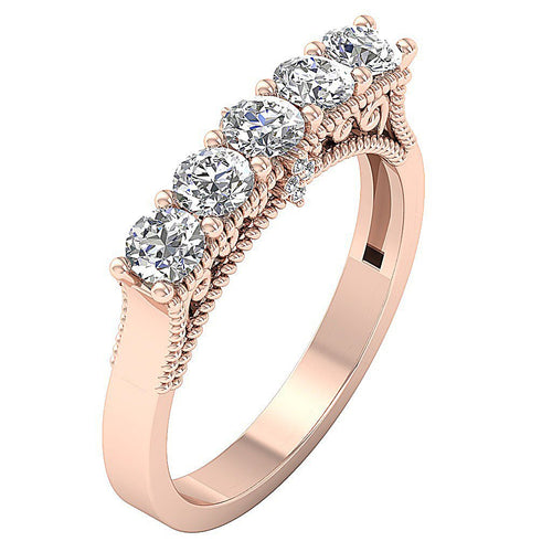 Vintage Engagement Rose Gold Ring-DFR58