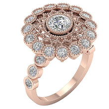 Load image into Gallery viewer, Accent With Milgrain Solitaire Round Cut Diamond Engagement Ring I1 G 3.15 Ct Solid Gold 19.25MM