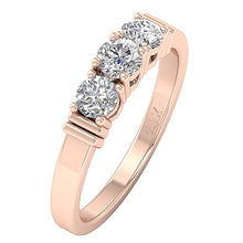 Load image into Gallery viewer, Designer Three Stone Engagement Ring Natural Diamond I1 G 0.75 Ct Prong Set 14k Rose Gold 4.45MM