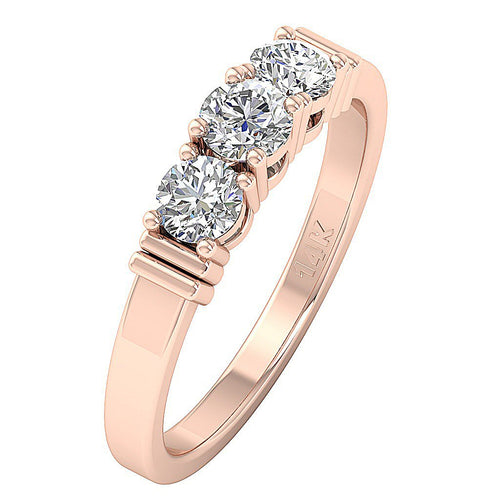 Rose Gold Three Stone Engagement Ring-DTR121-TR-21-4