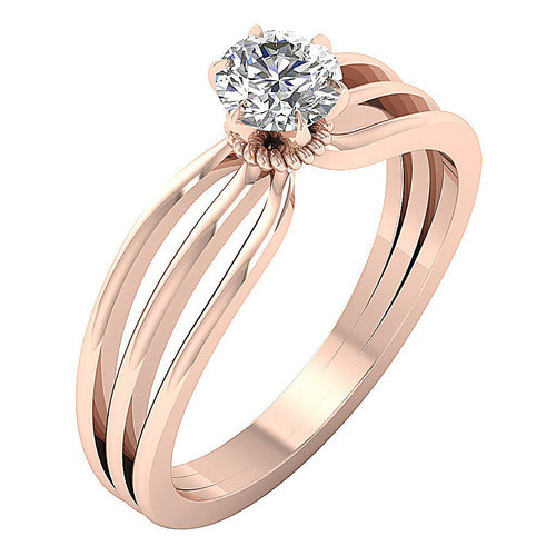 Solitaire Round Diamond Designer Engagement Ring SI1 G 0.65 Ct 14K Rose Gold 6 Prong Set 5.90MM