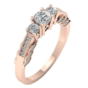 Side View Rose Gold 3 Stone Engagement Ring-TR-120-5