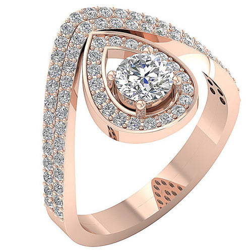 Vintage Halo Ring 14k Rose Gold-CR-198