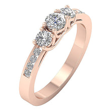Load image into Gallery viewer, Designer Three Stone Wedding Ring Round Diamond I1 G 1.00Ct Prong Channel Set 14k Rose Gold 4.45MM