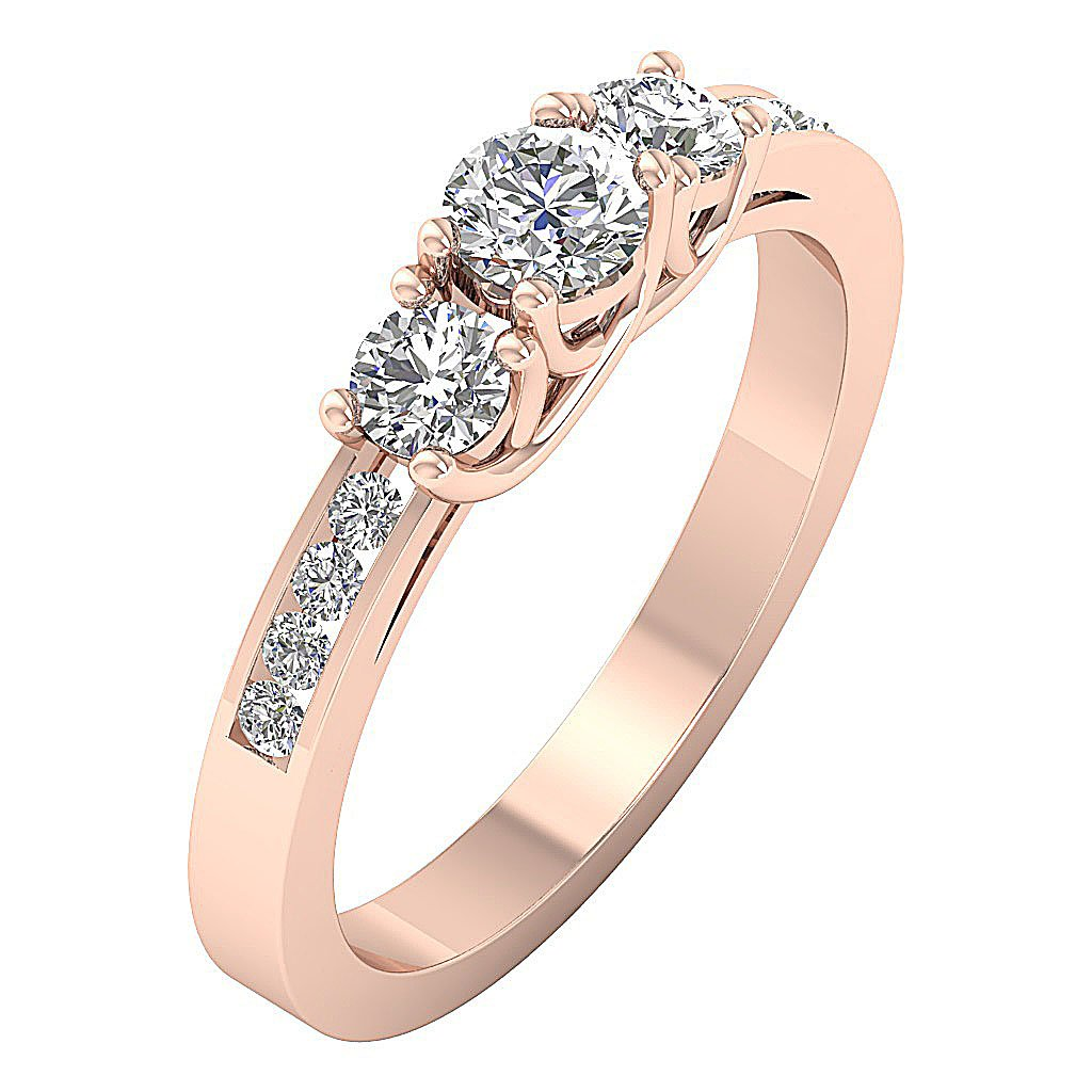 Designer Three Stone Wedding Ring Round Diamond I1 G 1.00Ct Prong Channel Set 14k Rose Gold 4.45MM