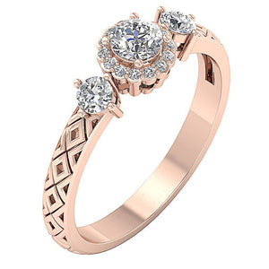 SI1 G 0.65 Ct Accent Solitaire Halo Wedding Ring Round Cut Diamond Prong Set 14k Solid Gold 6.50MM