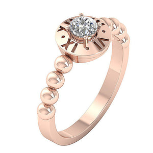 14K Solid Gold Solitaire Natural Diamond Designer Wedding Ring I1 G 0.35 Ct 4 Prong Set 8.90MM