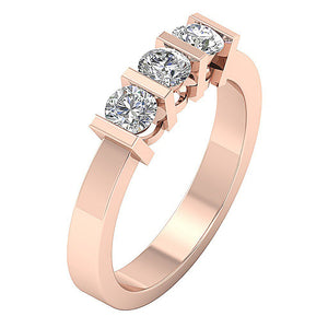 Three Stone Wedding Ring Rose Gold-TR-64-4