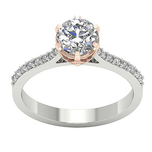 Solitaire Engagement Ring 14k Two Tone Gold I1 G 1.35 ct Natural Diamond