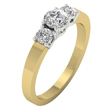 Load image into Gallery viewer, Side View Two Tone Gold Round Cut Diamond Ring-DTR42-TR-116B-2