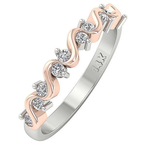 14k Two tone Gold Round Diamond Wedding Band-WR-467