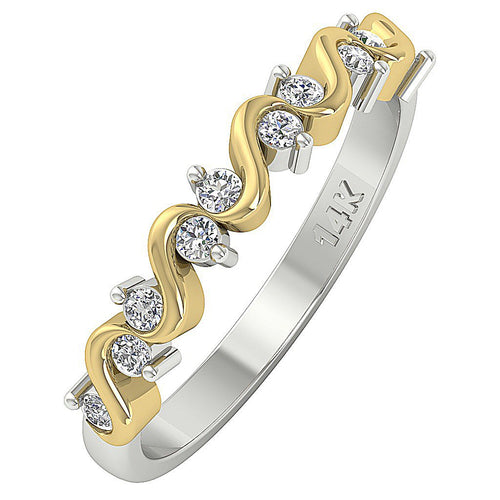 Natural Diamond 14k Two tone Gold Wedding Ring-WR-467