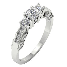Load image into Gallery viewer, Side View White Gold 3 Stone Engagement Ring-TR-120-3