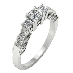 Side View White Gold 3 Stone Engagement Ring-TR-120-3