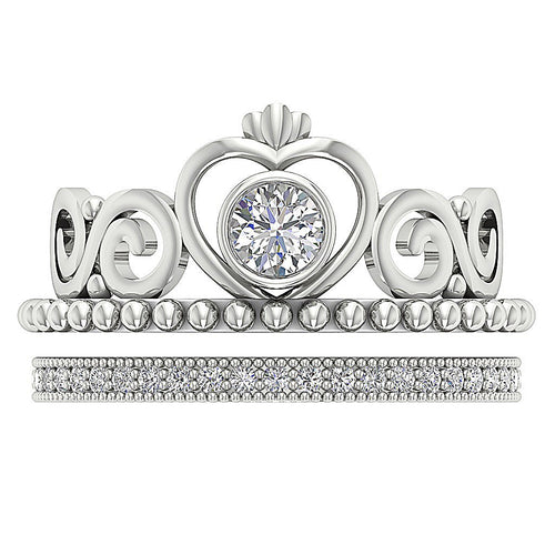 Milgrain Bridal Set Ring 14k White Gold-CR-225