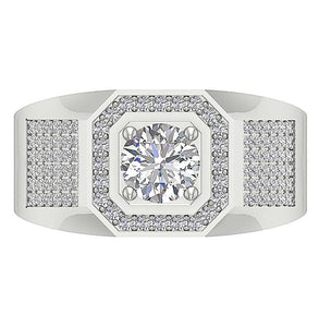 I1 G 1.65Ct 14k Solid Gold Mens Anniversary Ring Round Diamond Prong Set Width 12.00MM