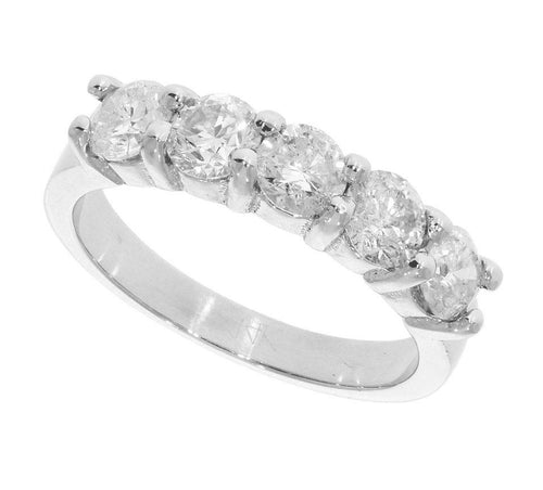 14k White Gold Round Cut Diamond Ring-FR-47A