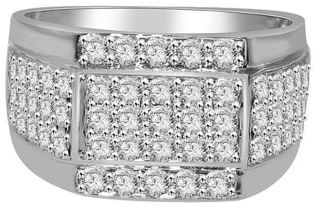 VVS1/VS1 E 1.55Ct 14k Solid Gold Mens Wedding Ring Natural Diamonds Pave Set Width 11.40MM