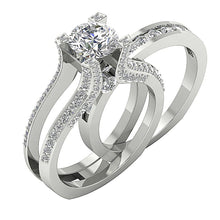 Load image into Gallery viewer, 14k White Gold Round Cut Diamond Bridal Ring Set-DCR109