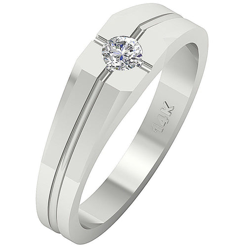 Men's Solitaire Ring White Gold -MR-154