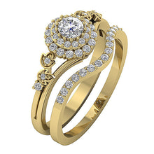 Load image into Gallery viewer, Designer Bridal Anniversary Ring Set 14k Yellow Gold-DCR113-0.75CT