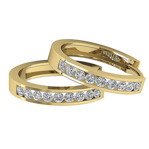 Small Hoop Earrings SI1 G 0.40 Ct 14k White Yellow Rose Gold Natural Diamonds Channel Set 0.59 Inch