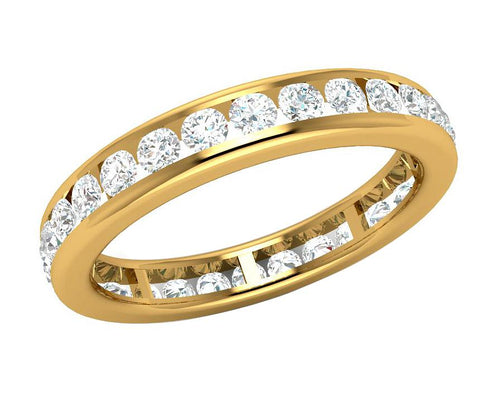 Side View 14k Solid Gold Eternity Wedding Ring-DETR187-7